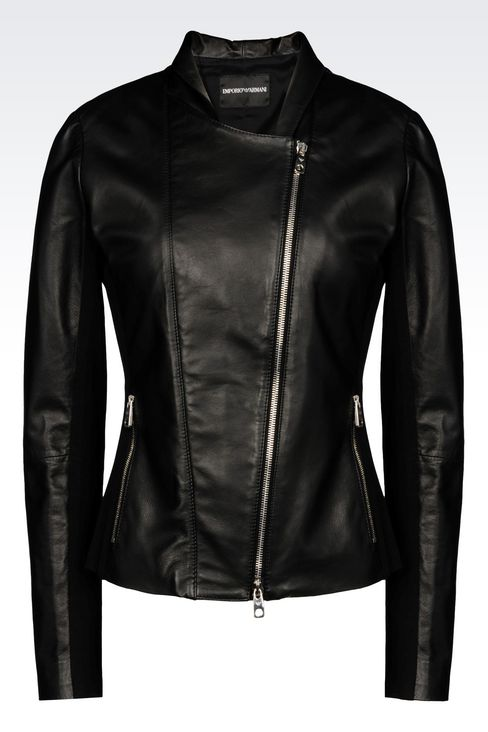 BLOUSON IN NAPA LEATHER WITH JERSEY DETAILS: Light leather jackets Women by Armani - 1