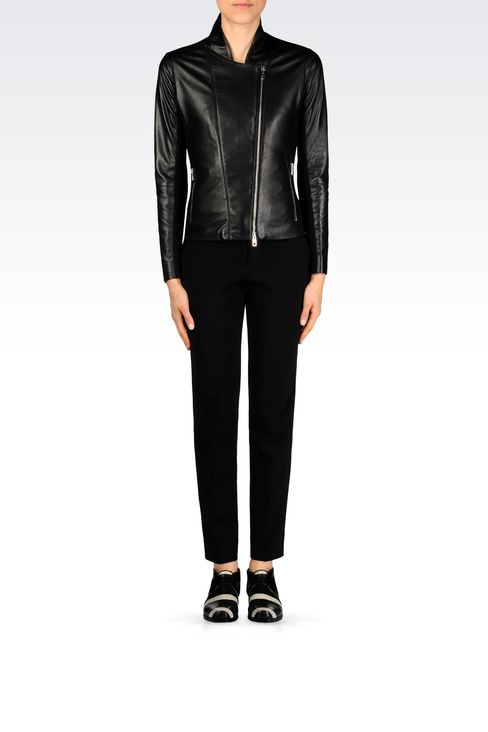 BLOUSON IN NAPA LEATHER WITH JERSEY DETAILS: Light leather jackets Women by Armani - 2