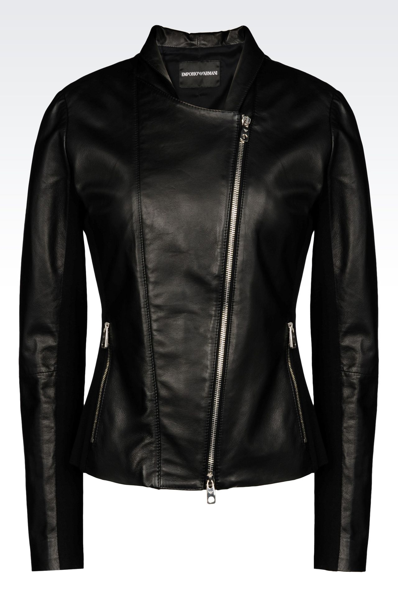 BLOUSON IN NAPA LEATHER WITH JERSEY DETAILS: Light leather jackets Women by Armani - 0