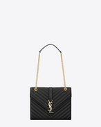 Classic medium MONOGRAM SAINT LAURENT satchel in black matelassé leather