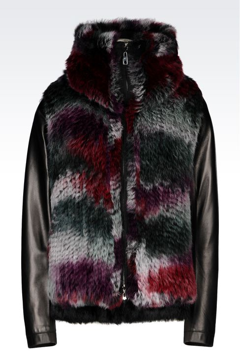 Emporio Armani Women RABBIT FUR COAT WITH NAPA LEATHER DETAILS ...