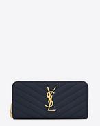 Monogram Saint Laurent Zip Around Wallet in Powder Grain de Poudre Textured Matelassé Leather