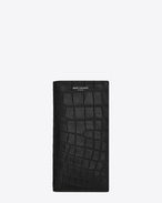 CLASSIC SAINT LAURENT PARIS CONTINENTAL WALLET IN Black crocodile embossed leather