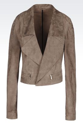 Armani Leather jackets Women blouson in suede