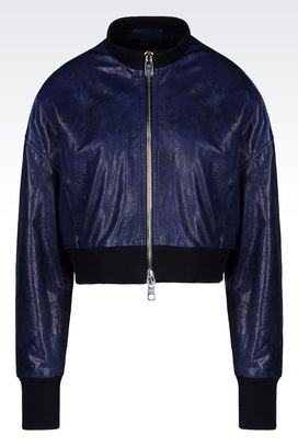 Armani Light leather jackets Women blouson in nappa leather