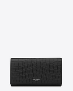 classic saint laurent paris large flap wallet in black crocodile embossed leather