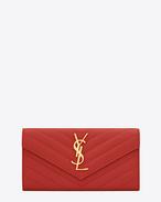 Large Monogram Saint Laurent Flap Wallet in Lipstick Red Grain de Poudre Textured matelassé Leather