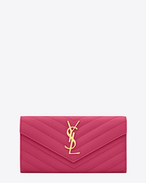 Large Monogram Saint Laurent Flap Wallet in Lipstick Fuchsia Grain de Poudre Textured Matelassé Leather