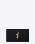 Monogram Saint Laurent fold wallet in black grain de poudre textured matelassé leather