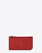 Classic SAINT LAURENT PARIS 5 Fragments Zip Pouch in Red and Black Leather