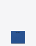 Classic SAINT LAURENT PARIS East/West Wallet in Royal Blue and Black Leather