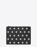 Étui pour tablette rembourré RIDER CALIFORNIA en cuir noir et cuir grainé métallisé argenté