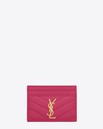 Porte-cartes Monogramme Saint Laurent en cuir texturé grain-de-poudre matelassé fuchsia lipstick