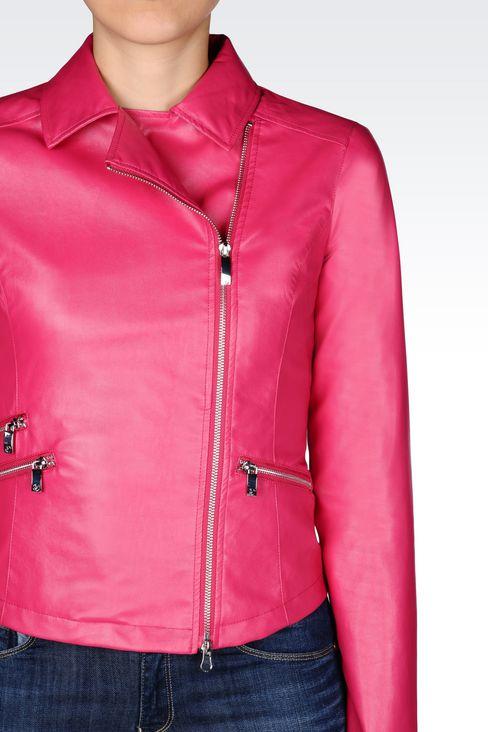 BLOUSON IN FAUX LEATHER: Dust jackets Women by Armani - 4
