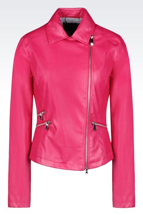 BLOUSON IN FAUX LEATHER: Dust jackets Women by Armani - 1