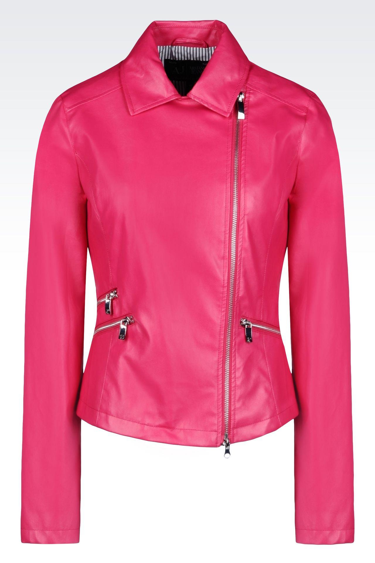 BLOUSON IN FAUX LEATHER: Dust jackets Women by Armani - 0