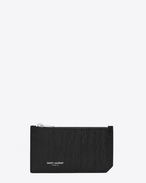 CLASSIC SAINT LAURENT PARIS 5 FRAGMENTS ZIP POUCH IN BLACK Crocodile Embossed LEATHER