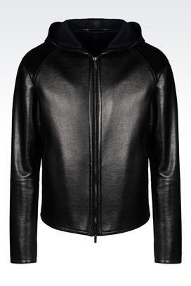 Armani Light leather jackets Men runway blouson in napa leather with hood