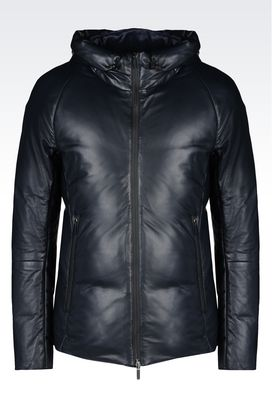 Armani Light leather jackets Men hooded blouson in napa leather