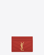 monogram saint laurent credit card case in red grain de poudre textured matelassé leather