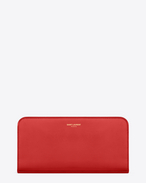 classic  saint laurent paris zip around wallet in red leather