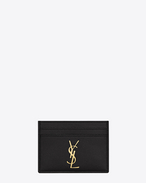 monogram saint laurent credit card case in black grain de poudre textured leather