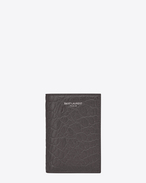 classic saint laurent paris credit card wallet in dark anthracite crocodile embossed leather