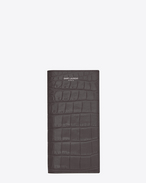 classic saint laurent paris continental wallet in dark anthracite crocodile embossed leather