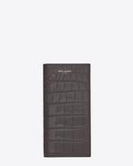 Portafogli classic SAINT LAURENT PARIS continental grigio antracite scuro in coccodrillo stampato