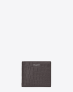 classic saint laurent paris east/west wallet in dark anthracite crocodile embossed leather