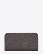 classic saint laurent paris zip around wallet in drak anthracite crocodile embossed leather