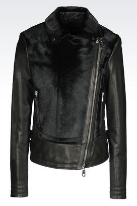 Armani Light leather jackets Women jacket in pony skin effect leather