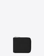 クラシック サンローラン コンパクト ウォレット(ブラック/グレインパウダーテクスチャード レザー)
