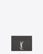 monogram saint laurent credit card case in dark anthracite grain de poudre textured matelassé leather