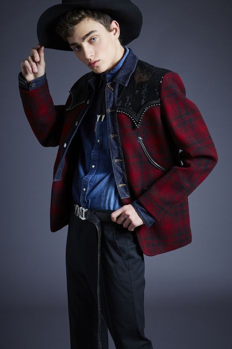 embellished check-wool jacket coats & jackets Man Dsquared2