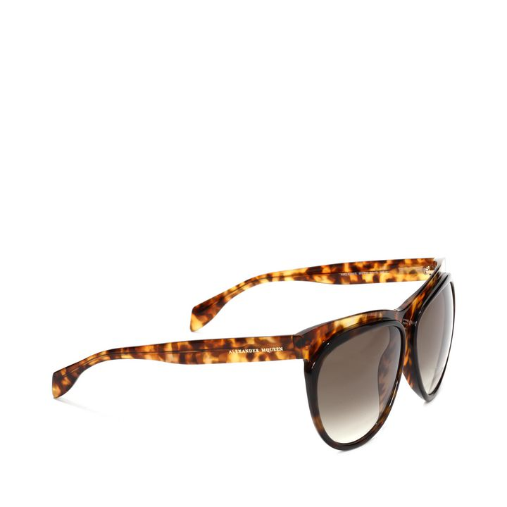 Alexander McQueen, Two-Tone Brow Detail Round Sunglasses