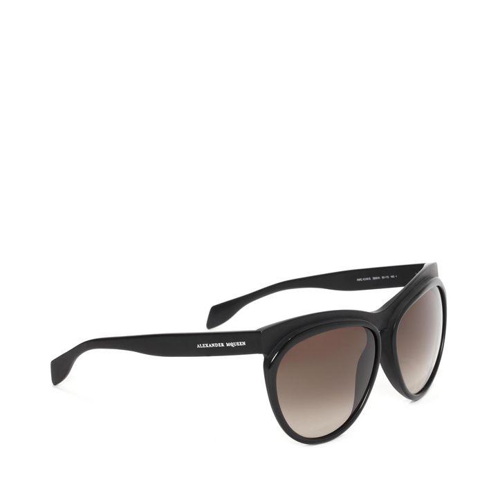 Alexander McQueen, Occhiali da Sole Rotondi con Dettaglio Bicolore