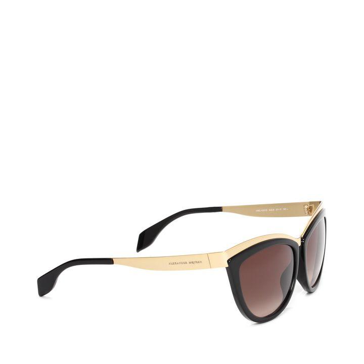 Alexander McQueen, Occhiali da Sole Cat Eye con Dettagli Metallici