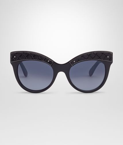 SUNGLASSES IN BLACK ACETATE METAL WITH SMOKE LENS