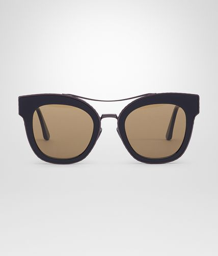 SUNGLASSES IN BLACK ACETATE METAL BROWN LENS