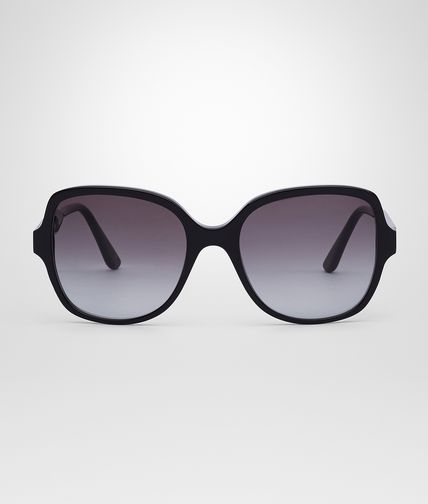 SUNGLASSES IN BLACK ACETATE LEATHER SMOKE LENS