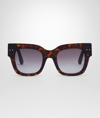 SUNGLASSES IN DARK HAVANA ACETATE RUBBER SMOKE LENS