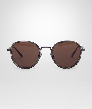 SUNGLASSES IN BURNISHED TITANIUM ACETATE WITH BROWN LENS