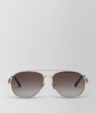 SUNGLASSES IN GOLD METAL WITH BROWN LENS
