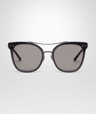 SUNGLASSES IN BLACK ACETATE RUTHENIUM METAL WITH GREY LENS