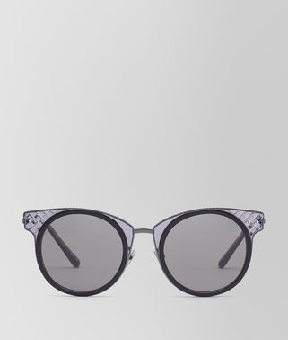 SUNGLESSES IN BLACK, GREY AND TRANSPARENT ACETATE AND RUTHENIUM  METAL WITH GREY LENS
