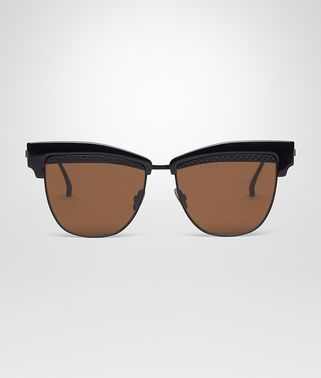 SUNGLASSES IN BLACK ACETATE BLACK METAL WITH BROWN LENS