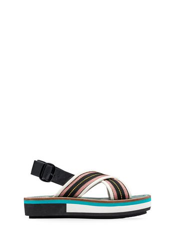 Marni Wedge in cotton ribbon with topstitching black Woman