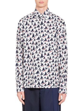 Marni Shirt in cotton Sail print Man