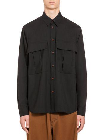 Marni Shirt in tropical wool longer at the back Man